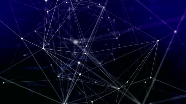 3d-rendering abstrakte netzwerk-verbindungen und punkte auf dunklem hintergrund, technologie-konzept-hintergrund - connection in process stock-videos und b-roll-filmmaterial