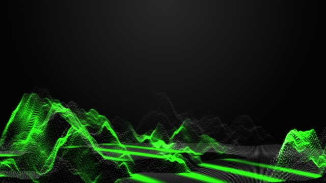 3D Rendering Abstract Wireframe of Mountain with Scanning Wave, Technology Concept