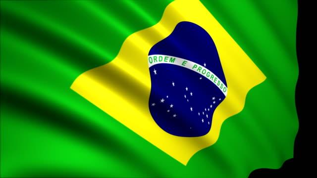 vídeos de stock, filmes e b-roll de renderização 3d bandeira do brasil - bandeira