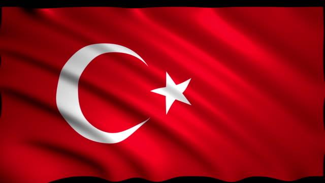 vidéos et rushes de rendu 3d drapeau de la turquie - drapeau turc