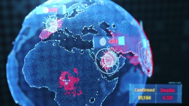 vídeos y material grabado en eventos de stock de renderizado 3d futuristic global interactivo que muestra el virus corona o el concepto de brote covid-19, diseño digital para ciencia y tecnología antecedentes - mapamundi