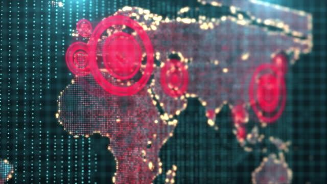 rendering 3d futuristico globale interattivo che mostra il virus corona o epidemia di covid-19 epidemica in europa - sparse video stock e b–roll