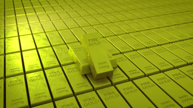3d rendering gold ingots - saturated color stock videos and b-roll footage