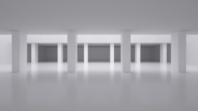 vidéos et rushes de 4k 3d rendering indoor background video - blanc