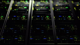 3D rendering of data servers with flashing LEDs. Cyclic animation of data servers