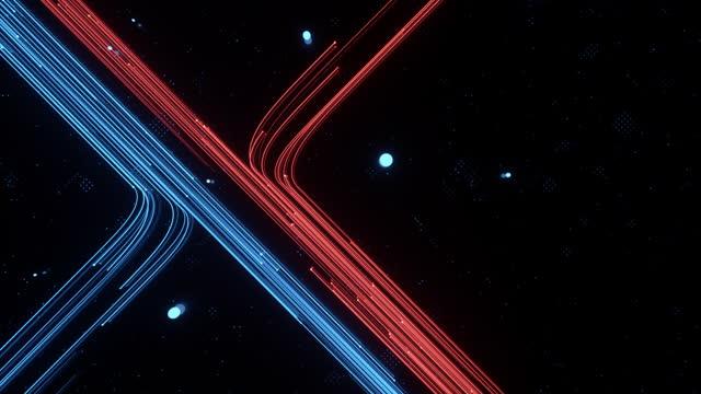 vídeos de stock e filmes b-roll de 3d rendering of fast flowing particle data - homem e máquina