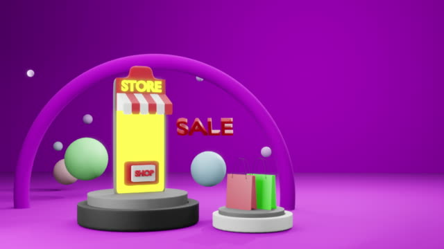3d rendering of shopping online with smartphone application for delivery shop bag - illustration stock videos & royalty-free footage
