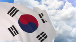3D rendering of South Korea flag waving on blue sky with Alpha channel