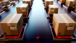4K 3D rendering Packages are transported in high-tech Settings,online shopping,Concept of automatic logistics management.