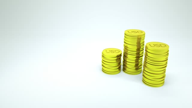 3d rendering usd coin counting on white background, financial concept - prosperity stock videos & royalty-free footage