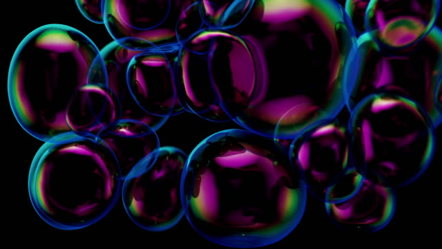 3d rendering with floating bubbles abstract composition. - art stock videos & royalty-free footage
