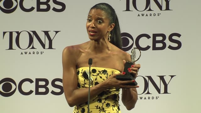 interview renée elise goldsberry talks about learning every day to be a powerful woman despite any barriers at 2016 tony awards press room at the... - 70th annual tony awards stock videos and b-roll footage
