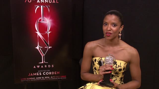 interview renée elise goldsberry talks about winning best actress in a featured role in a musical at 2016 tony awards winner's circle at the beacon... - 70th annual tony awards stock videos and b-roll footage
