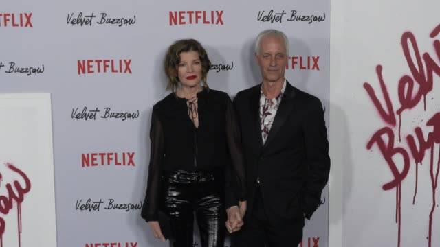 """rene russo and dan gilroy at the """"velvet buzzsaw"""" los angeles premiere at the egyptian theatre on january 28, 2019 in hollywood, california. - レネ・ルッソ点の映像素材/bロール"""