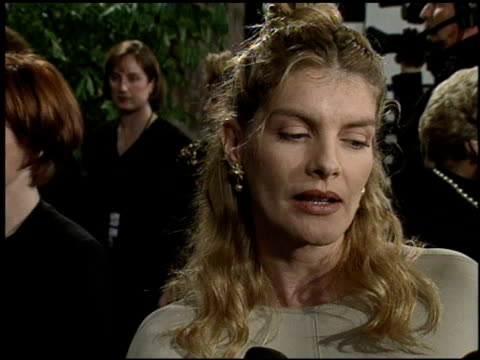 rene russo at the afi honors honoring clint eastwood press room at the beverly hilton in beverly hills, california on march 1, 1996. - レネ・ルッソ点の映像素材/bロール