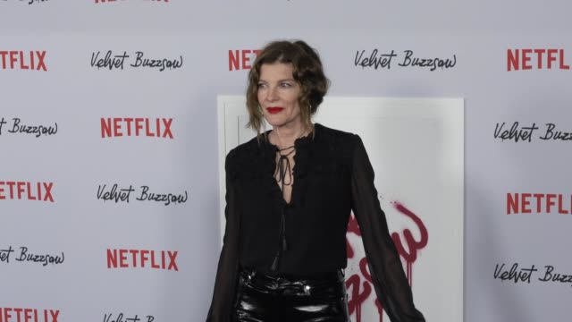 """rene russo at the """"velvet buzzsaw"""" los angeles premiere at the egyptian theatre on january 28, 2019 in hollywood, california. - レネ・ルッソ点の映像素材/bロール"""