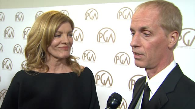 vidéos et rushes de rene russo, dan gilroy on nightcrawler being nominated at 26th annual producers guild awards in los angeles, ca 1/24/15 - producer's guild of america awards