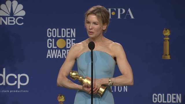 renée zellweger at 77th annual golden globe awards - press room at the beverly hilton hotel on january 05, 2020 in beverly hills, california. - golden globe awards stock videos & royalty-free footage