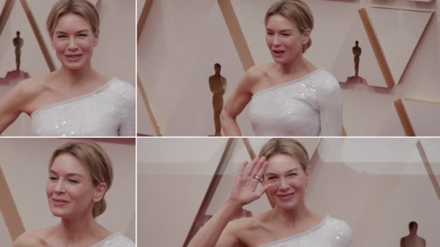 renée zellweger at the 92nd annual academy awards - arrivals on february 09, 2020 in hollywood, california. - academy awards stock videos & royalty-free footage