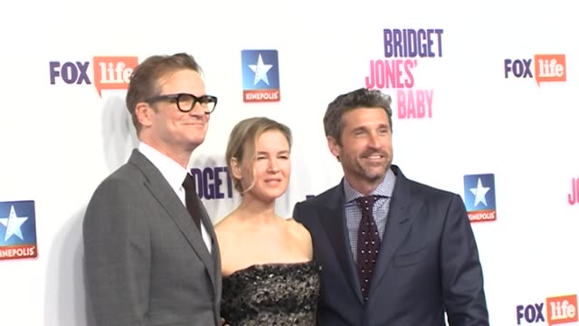 renée zellweger colin firth and patrick dempsey at the premiere of bridget jones' baby - film premiere stock videos & royalty-free footage