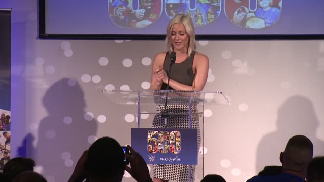 speech renee young discusses john cena's humanitarian work at dave buster's time square on august 21 2015 in new york city - cena stock videos & royalty-free footage