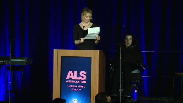 speech renee zellweger and nanci ryder on nanci's first interview after being diagnosed at the als association golden west chapter's 2017 champions... - renée zellweger stock videos and b-roll footage