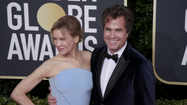 renee zellweger and rupert goold at the 77th annual golden globe awards at the beverly hilton hotel on january 05, 2020 in beverly hills, california. - golden globe awards stock videos & royalty-free footage