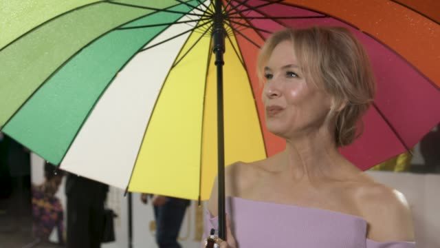 interview renee zellweger on not seeing the film yet coming back after 6 years playing judy garland at 'judy' european premiere at the curzon mayfair... - renee zellweger stock videos & royalty-free footage