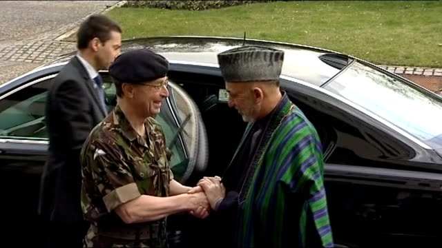 'renegade' shooting british soldiers named / new chief of defence staff lib general sir david richards with hamid karzai during karzai visit to... - barracks stock videos and b-roll footage