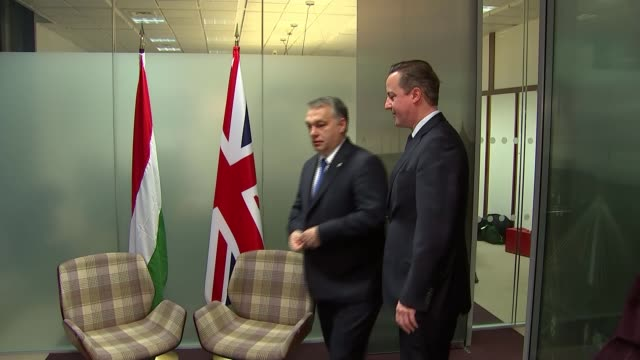 vidéos et rushes de david cameron meets hungarian pm; belgium: brussels: int david cameron mp walking into office with viktor orban / chatting during photocall - prime minister