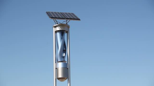 renewable energy light with solar panel and wind turbine - turbine stock videos & royalty-free footage
