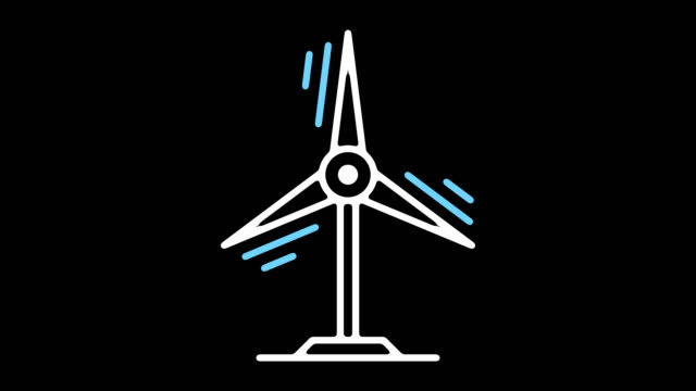 renewable energy line icon animation with alpha - outline stock videos & royalty-free footage