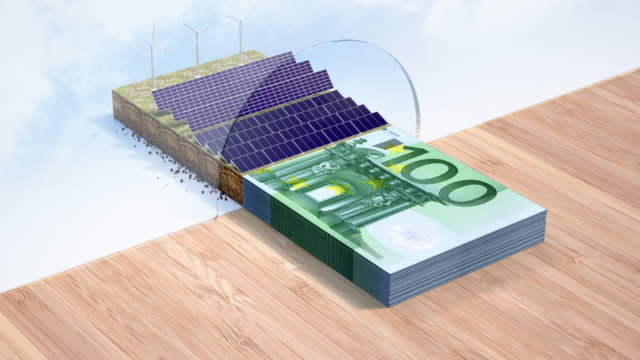 renewable energy loan - euro credit - 4k resolution - making money stock videos & royalty-free footage