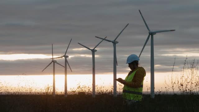 erneuerbare energiesysteme. strom-wartungsingenieur arbeitet auf dem feld in einem windturbinenkraftwerk bei sonnenaufgang. mädchen-power. - soziales thema stock-videos und b-roll-filmmaterial