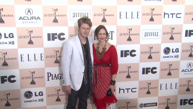 renn hawkey and vera farmiga at the 2011 independent spirit awards - arrivals at santa monica ca. - independent feature project stock videos & royalty-free footage