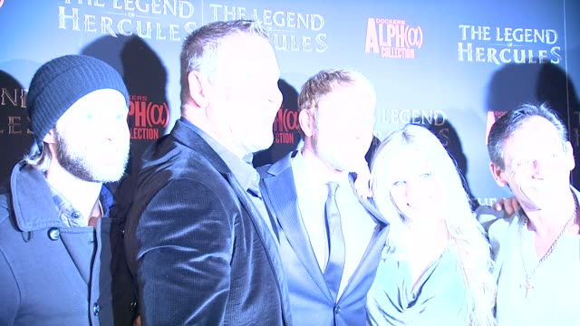 renny harlin and kellan lutz at the legend of hercules screening at crosby street hotel on in new york city. - レニー ハーリン点の映像素材/bロール