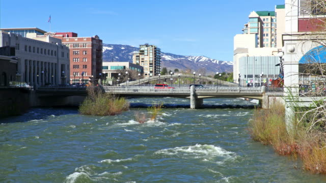 reno along the truckee river - nevada stock videos & royalty-free footage