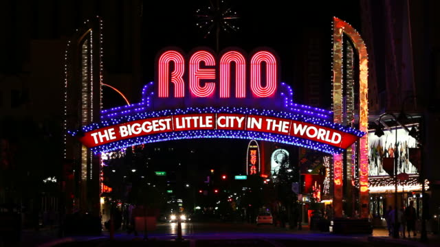reno, nevada - casino sign stock videos & royalty-free footage