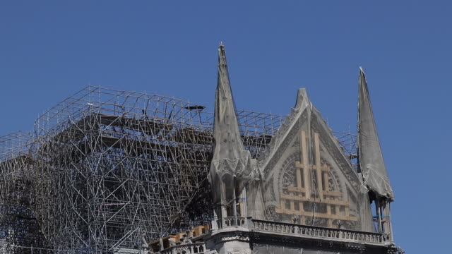 renovation of notre dame de paris, consolidation - scaffolding stock videos & royalty-free footage