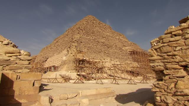 ws zi renovation of saqqara step pyramid / egypt - saqqara stock videos and b-roll footage