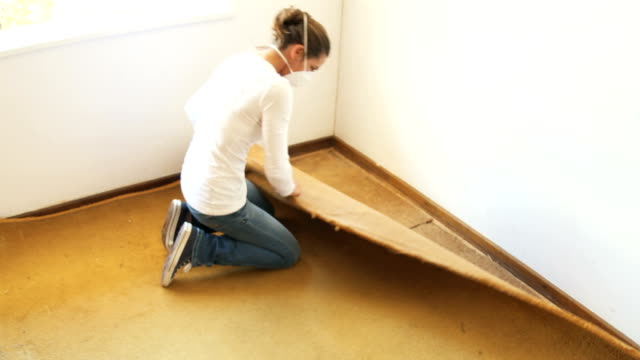 Renovator Woman rips out old dusty carpet