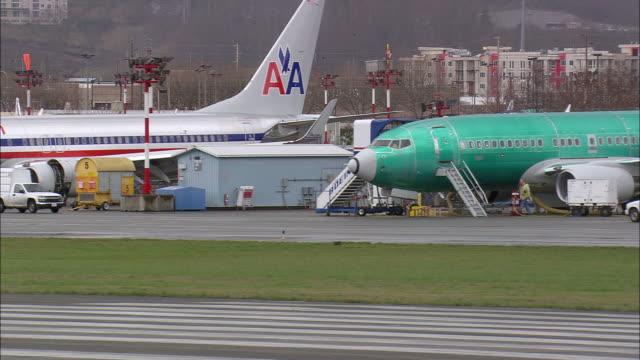 MS AERIAL Renton Boeing factory near Seattle, / Washington, United States