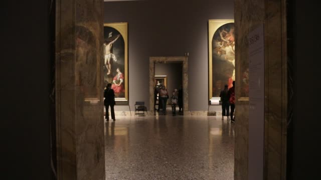 reopening to the public of the pinacoteca di brera after the forced closure for the coronavirus emergency, milan, italy, june 09 2020. free admission... - museum video stock e b–roll