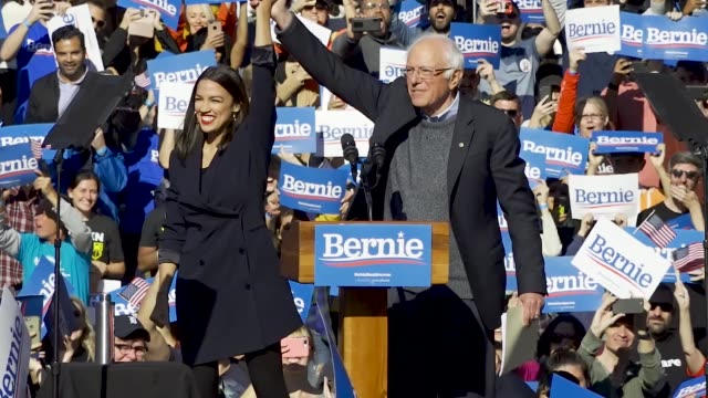 rep. alexandria ocasio-cortez of new york officially endorsed presidential candidate bernie sanders. democratic 2020 presidential candidate senator... - political rally stock videos & royalty-free footage