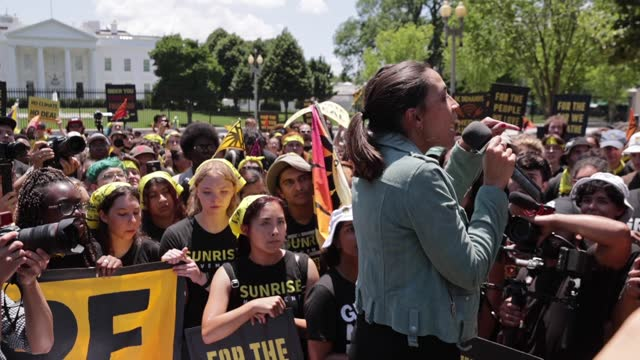 rep. alexandria ocasio-cortez stands on plastic buckets while rallying hundreds of young climate activists in lafayette square on the north side of... - campaigner stock videos & royalty-free footage