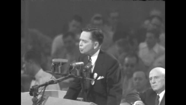 rep carl albert standing on rostrum places name of candidate senator robert kerr in nomination convention chairman sam rayburn speaker of the house... - sam rayburn stock videos and b-roll footage