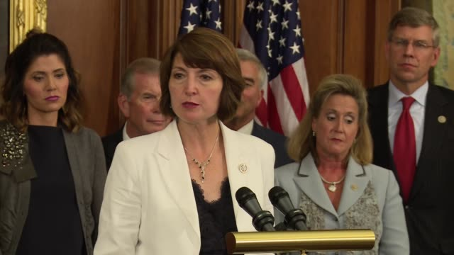 rep cathy mcmorrisrodgers who is the in republican leadership in the us house of representatives closes a press conference on how important it is to... - trafficking stock videos and b-roll footage