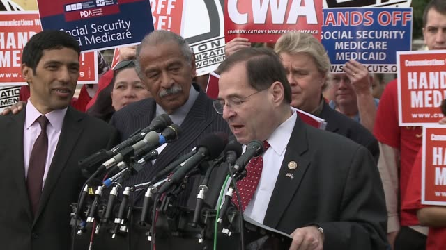 vídeos y material grabado en eventos de stock de rep. jerry nadler d-ny soundbites on not one dime of cuts to social security, medicare and medicaid, by the super committee, aka the joint committee... - medicare