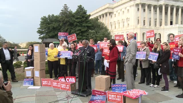 rep. john conyers, d-michigan, hosts a press conference / rally to denounce cuts proposed by the super commitee / joint committee on deficit... - medicaid stock videos & royalty-free footage