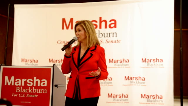 us rep marsha blackburn republican candidate for us senate speaks during a getoutthevote rally at henry horton state park november 1 2018 in chapel... - north carolina us state stock videos & royalty-free footage